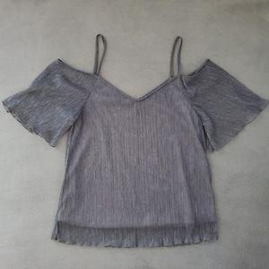 Silver Cut Out Shoulder Blouse